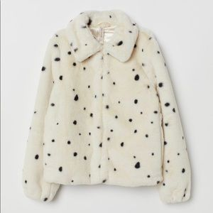 Faux Fur Jacket - Natural white/dotted